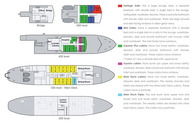 Cabin layout for Spirit of Enderby