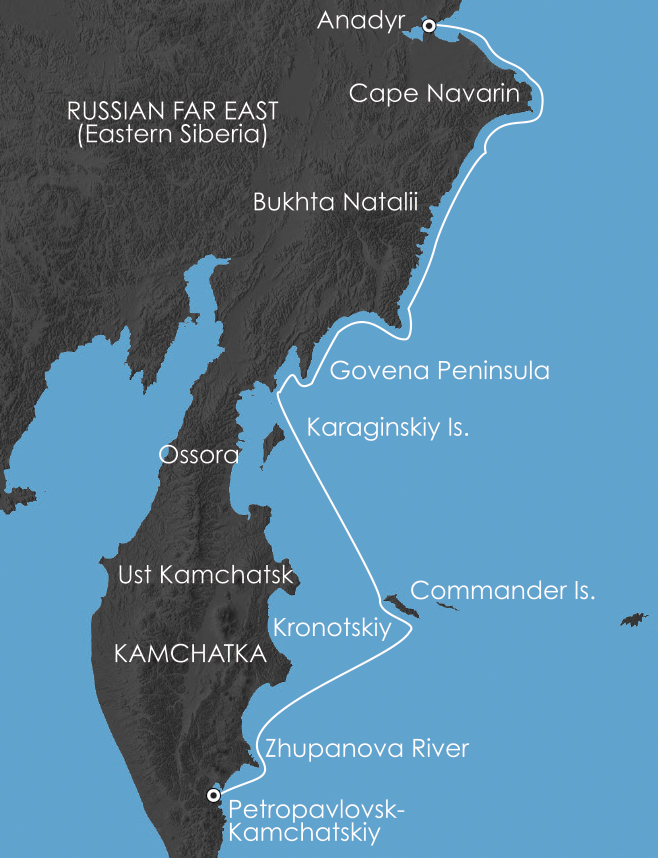 Map for Kamchatka Coast: Jewel of the Russian Far East 4 September 2017