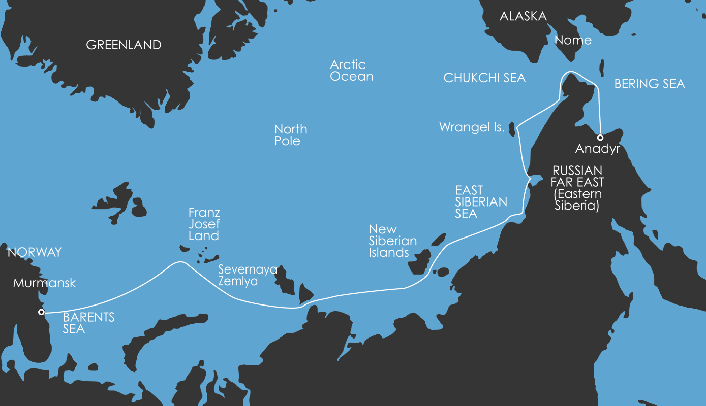 Map for North East Passage: The Northern Sea Route - Eastbound 29 August 2017
