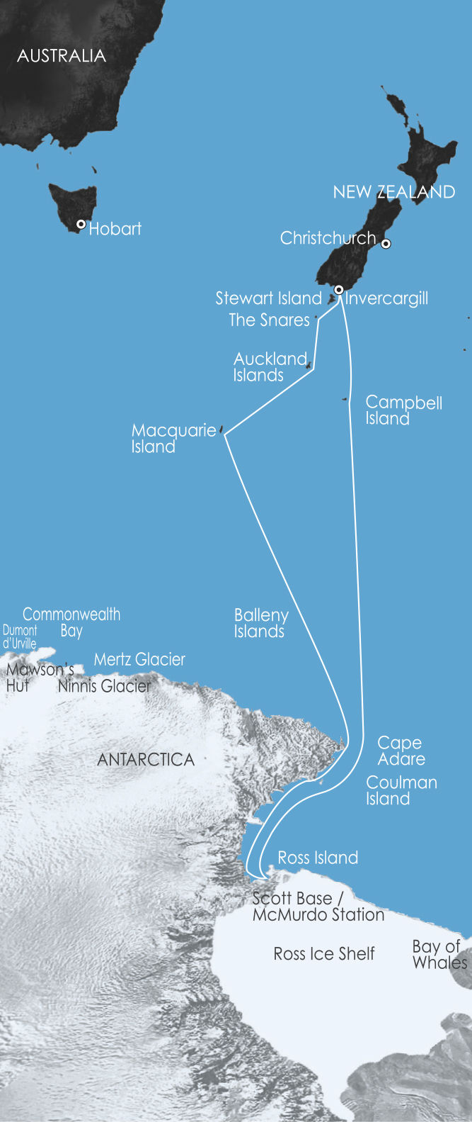 Map for Ross Sea Antarctic Cruising: In the Wake of Scott & Shackleton 10 Jan 2018