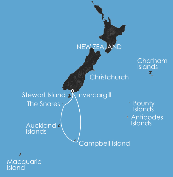 Map for Subantarctic Islands: Forgotten Islands of the South Pacific 4 Jan 2019
