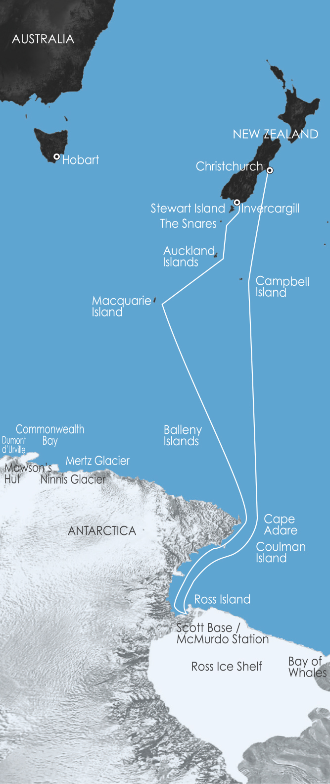 Map for Ross Sea Antarctic Cruising: In the Wake of Scott & Shackleton 8 Feb 2018