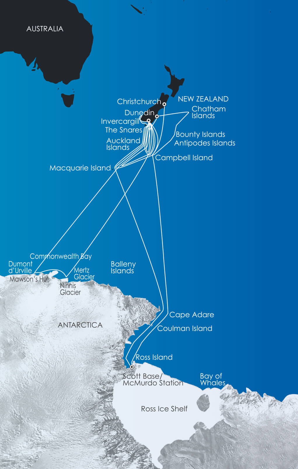 Map for Antarctica Voyages
