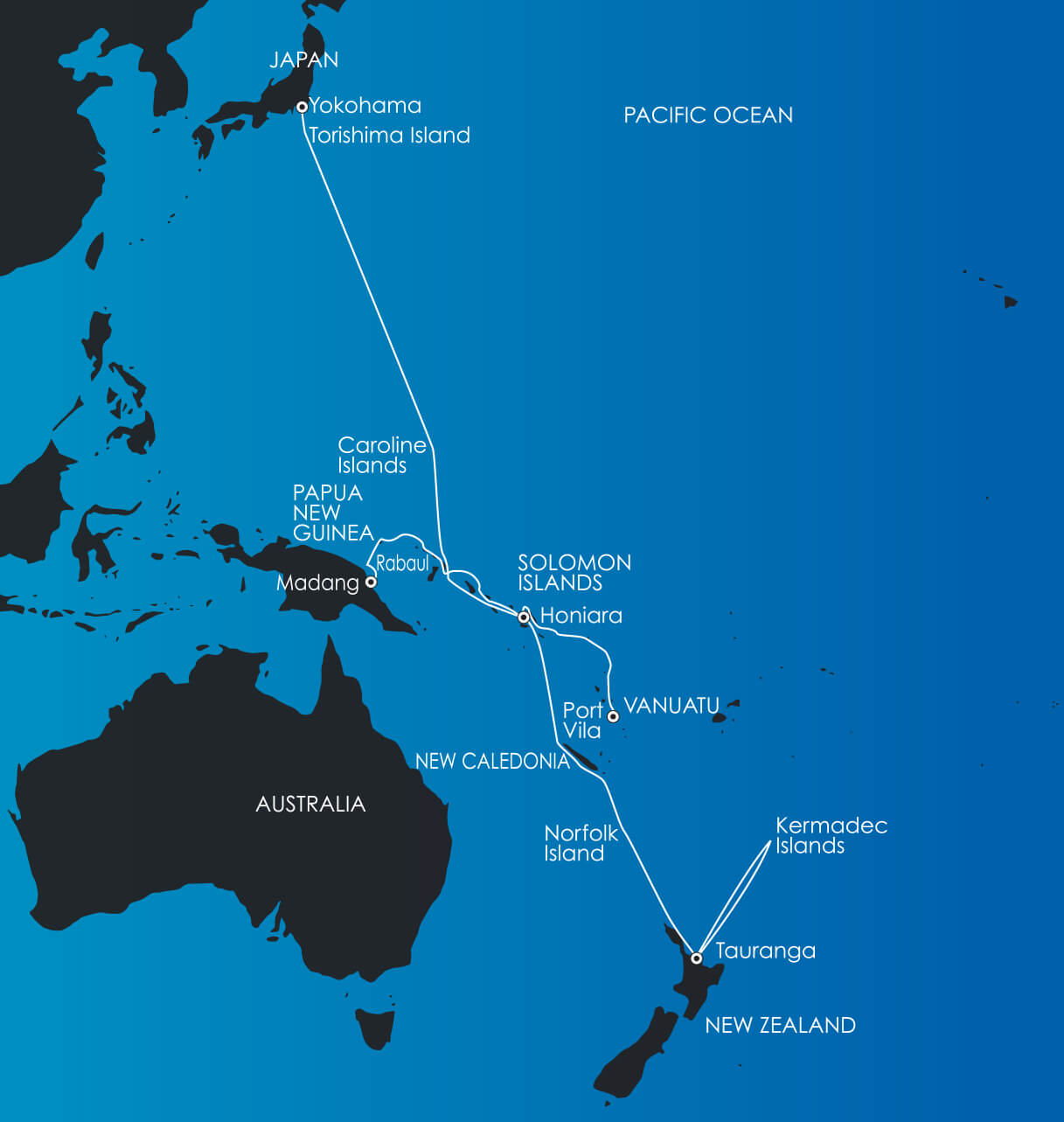 Map for South Pacific Voyages