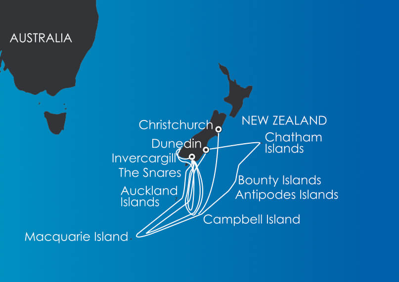 Map for Subantarctic Islands Voyages