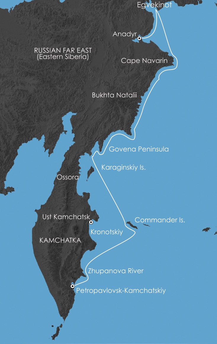 Map for Kamchatka Coast: Jewel of the Russian Far East 3 September 2018