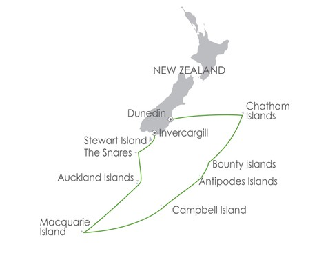 Map for Subantarctic Islands: Birding Down Under 12 Nov 2020