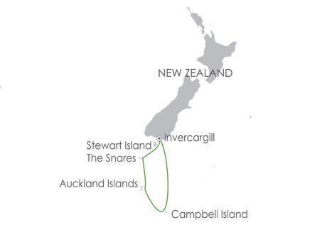 Map for Subantarctic Islands: Forgotten Islands of the South Pacific 3 Jan 2020