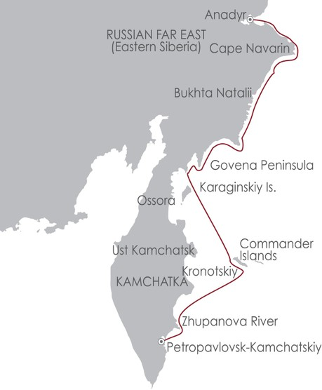 Map for Kamchatka Coast: Siberia's Forgotten Coast 25 June 2019
