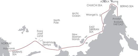 Map for North East Passage: The Northern Sea Route 27 July 2020 Westbound