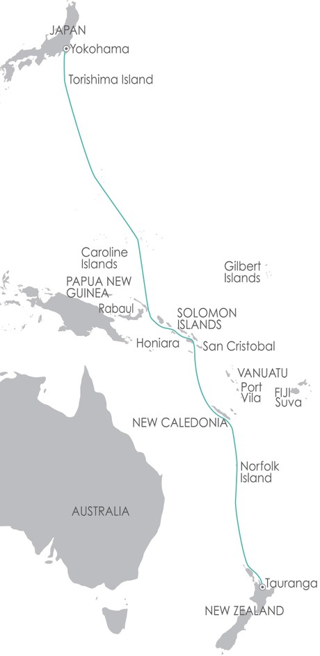 Map for South Pacific: Western Pacific Odyssey 13 March 2020